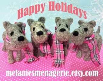 Felted Dog Ornament Figurine Gray Scottish Terrier with Scarf