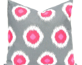 Polka Dot Pillow Covers - Berry Pink and Charcoal Gray - Decorative Pillow Covers - Throw Pillow covers - Pink Pillow Covers - Gray Pillow