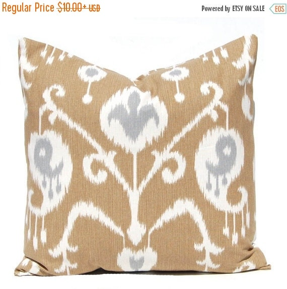 SALE Brown Pillow Covers - Ikat Pillow Cover - Brown with Gray Accents - Same Fabric Front and Back - All Sizes - Brown Cushion Covers