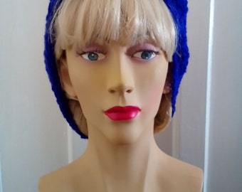 1940s Style Hand Knitted Hair Tidy in Purple