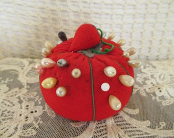 Vintage Red Tomato Pincushion - Corsage/Hat Pins - Sewing Strawberry - Sewing Quilting Studio Decor