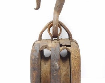 Vintage   Double Wood Pulley