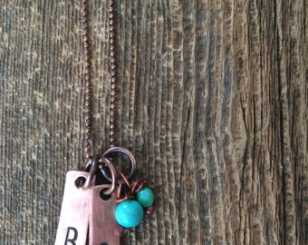 Copper Initial Necklace with turquoise beads - hand stamped by Rawkette