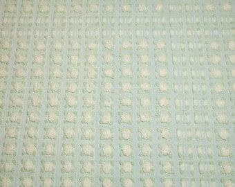 Sweet White Rosebuds on Light Blue Morgan Jones Vintage Chenille Bedspread Fabric Piece - 22 x 21 Inches
