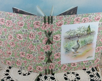 Alexander the Gander Floral Memory Journal with 1943 Children's Book Illustration on Cover