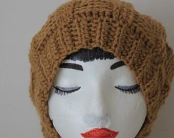 """Knitted """"Warm Brown"""" Beanie, Slouchy Head Accessory, Boho-chic*** FREE SHIPPING (USA address only)  ***"""