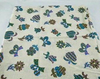 2 and 1/3 Yards Vintage 1950s Nubby Fabric Flowers, Hearts, Bows Funky Bark Cloth