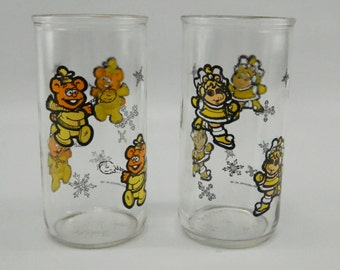 Vintage Muppet Babies Glasses Jelly Jars Fozzie Bear Miss Piggie Henson 1989