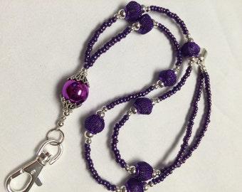 Purple Passion Beaded Lanyard / Beaded Lanyard / ID Badge Holder