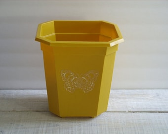 Vintage Butterfly Wastebasket ~ 70s Small Trash Can ~ Garbage Container