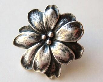 Vintage James Avery Sterling Silver Wildflower Bracelet Clasp for Braided Bracelet
