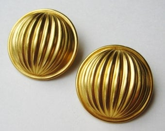 Vintage Anne Klein Gold Disc Round Clip On Designer Earrings