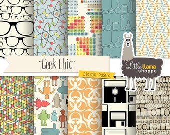 Geek Chic Digital Paper Pack, Nerd Scrapbook Paper, Science Geek Techie Genius, Commercial Use, Instant Download