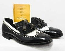 Size 7.5 Men's Shoes - 1960s Oxford Loafer Mens Dress Shoes - 60s Modern Dandy - Black & White Two Tone Leather - Deadstock - 7 1/2 -45935-1