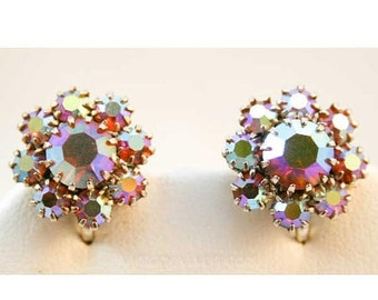 Beautiful Vintage Aurora Borealis Flower Earrings - Spring - Goldtone - 1950s - Petite Fleurs - Brilliant Rhinestones -  38333-1