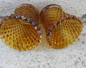 amber glass votive candle holder pair home interiors diamond pattern