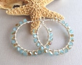 Beaded hoop earrings, silver hoop earrings, hoop earrings, Ocean theme earrings, ocean blue earrings, beachwear hoop earrings