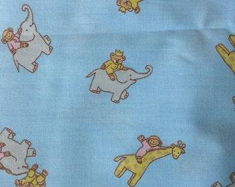 Juvenile Nursery Fabric Animals, Elephants, Giraffes on Blue Background 1 3/4 Yards Cotton Polyester Blend  X0555