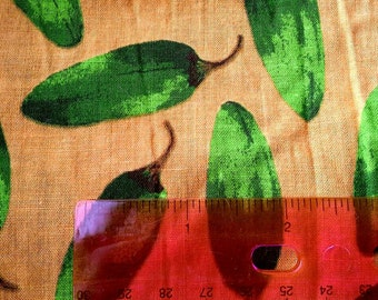 Green Chili Peppers on Yellow Background Cotton Fabric 2 1/2 Yards X0473
