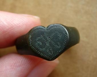 Old handmade vintage finger ring heart shape