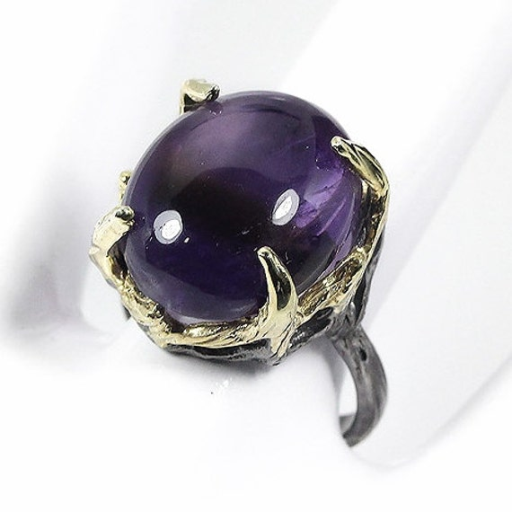 Natural 41 TCW Amethyst gemstones,  Black Rhodium, 14kt yellow gold Ring Size 7 1/2