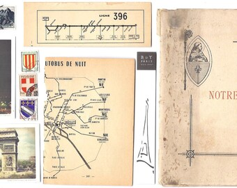 10 PARIS Ephemera papers - Vintage paper FRENCH Pack