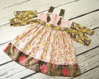 SALE Ready to Ship Girls Knot Dress Size 18M - 2T Two Available Watercolour Collection