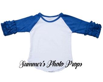 IN STOCK ready to ship Girl's Raglan Ruffle Shirt Baseball Blank Royal Blue Ready to Ship HTV Screen print.