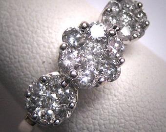 Vintage Diamond Wedding Ring One Carat Band White Gold Retro Art Deco