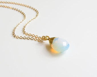 Opalite Necklace | Dainty Opal Necklace | October Birthstone | Wedding Jewelry | Bridal Jewelry | Bridesmaids Gift |Gift for Her