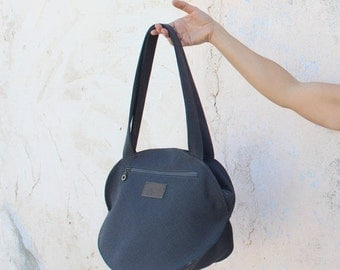 Summer SALE, Black Fabric tote , Black Tote Bag, Canvas handbag, Pepita texture, Bags For Women, Vegan Bag, black tote, Ellipse bag, Black s