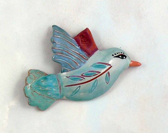 Pottery Wall Bird, Ceramic Bird Art, hand made clay wall bird by Cathy Kiffney