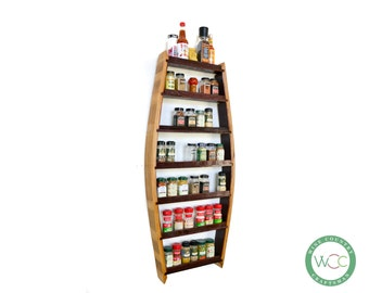 """SPICE RACK - """"Big Thyme"""" - Extra Large Spice Rack made from 100% recycled Napa wine barrels"""