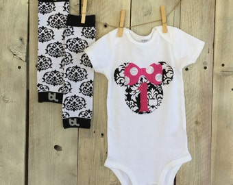 Minnie Mouse Inspired Damask Outfit Bodysuit and Legwarmers 18 Months First/1st Birthday
