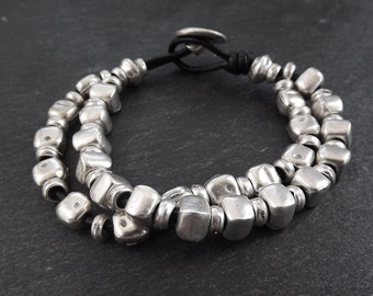 Mingling Silver Nuggets Statement Bracelet - Authentic Turkish Style