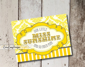 DIY Printable Little Miss Sunshine Thank You Cards INSTANT DOWNLOAD