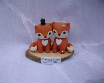 Foxes bride and groom wedding cake topper