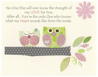 Baby girl Room Decor, Nursery Art, owl..pale pink gray No One Else will ever know, baby owl nursery, baby girl room, owl theme, girl decor