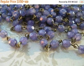 sale NEW Handmade Linked Beaded Chain with Milky Orchid Luster 6mm Faceted Czech Glass Beads
