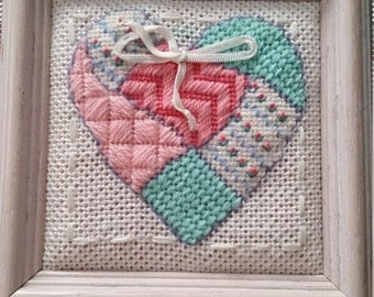Vintage Embroidered Quilted Looking Heart Framed Wall Hanging Valentine's Day