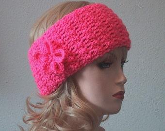 Ladies/Teen Ear Warmer w/Flower Brite Pink- Headband - Soft Acrylic Yarn - Hand Crocheted - Handmade - Size Average