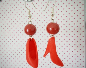 Lady in red barbie shoe earrings one of a kind gift playful handmade barbie - free shipping