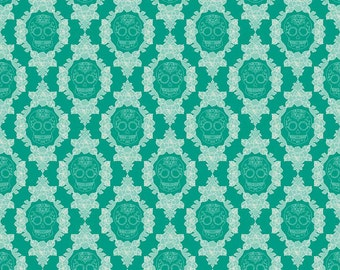 La Vie Boheme Skulls in Teal by The Quilted Fish
