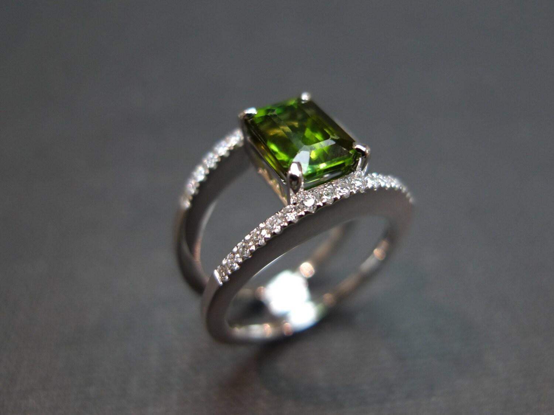 Natural Green Quartz Diamond Ring In 14K White Gold Wedding Band Emerald Cut Engagement
