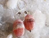 VALENTINES DAY SALE Rhodochrosite Earrings in Oxidized Sterling Silver Pink Gemstone Earrings Everyday Earrings
