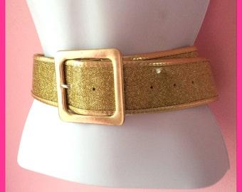 Vintage 1980s Gold Glitter Cinch Belt