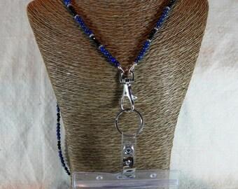 "Blue lapis black onyx ID card holder 32"" long lanyard badge holder cobalt ultramarine royal semiprecious stone jewelry in a gift bag 1516"