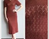 1930s Knit Set // Coffee 2piece Knit Set // vintage 30s rayon knit set