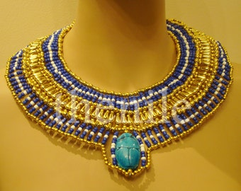 Unique Egyptian Hand Made Gold & Blue Beaded Queen Cleopatra Necklace Mega Sale