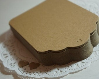 Extra Large Kraft Gift Tags Diecut Scallop 120x80mm blank DIY + Twine *Christmas*Packaging*Gifts*
